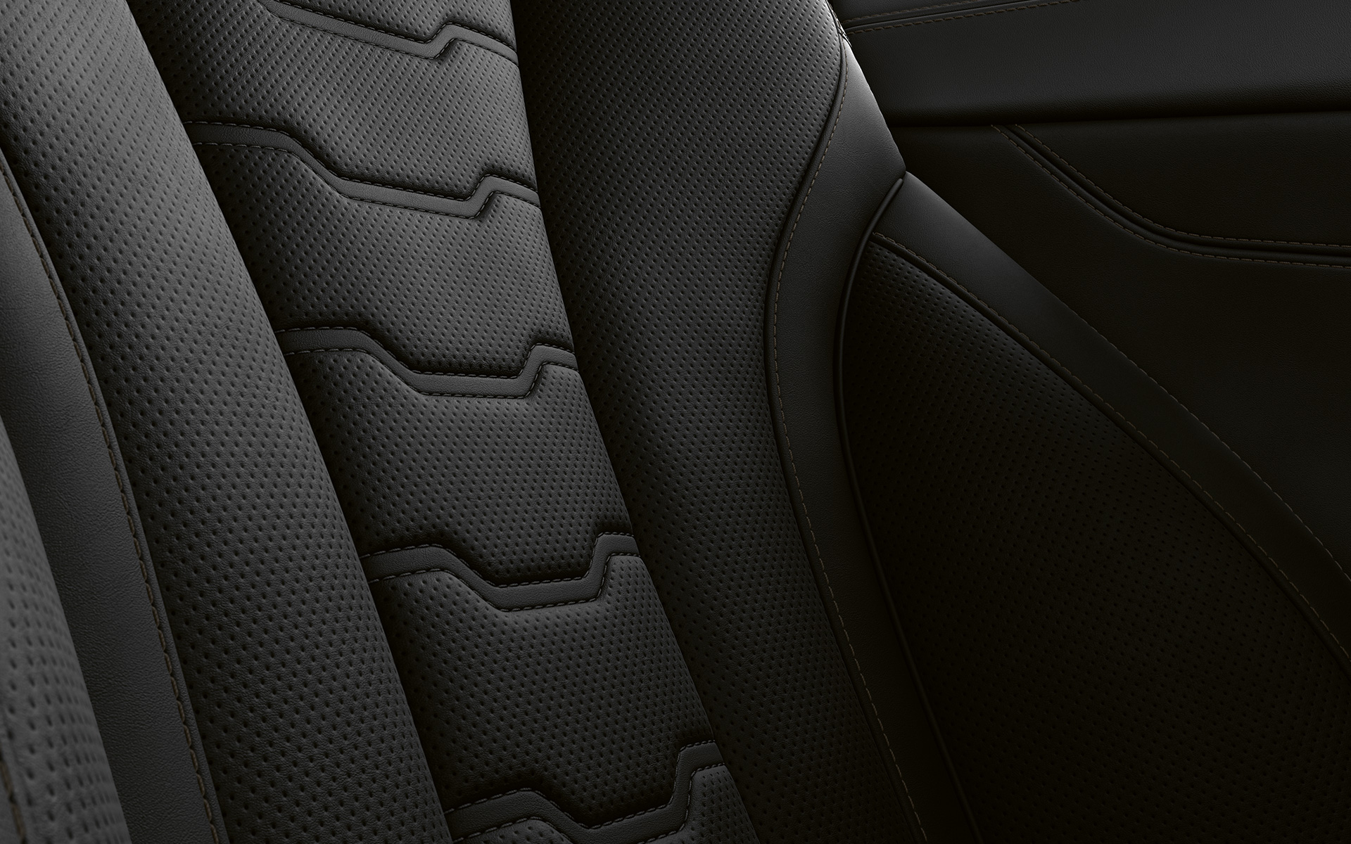 Close-up of upholstery and stitching of the BMW 8 Series Coupé.
