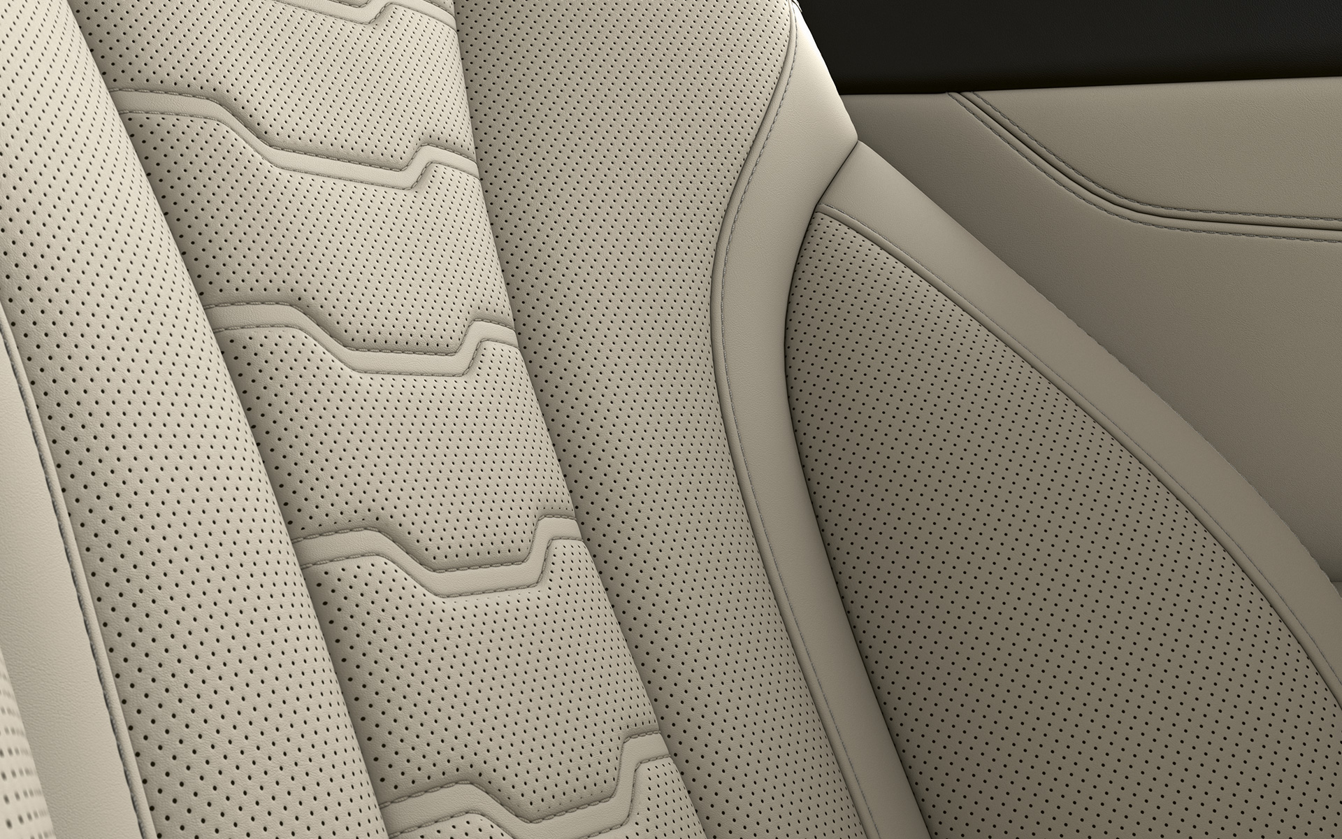 Close-up of the upholstery and stitching of the BMW 8 Series Coupé.